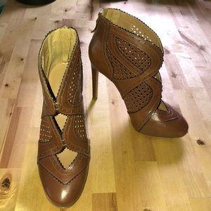 Nine West cognac leather booties